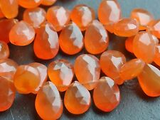 """HAND FACETED CARNELIAN PEAR DROPS, approx 7x9mm, 8"""", 56 beads"""