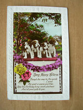 VINTAGE POSTCARD - MANY HAPPY RETURNS BIRTHDAY - PUPPY DOGS & ROSES