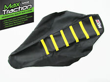 SUZUKI RM125 2001 2002 2003 RIBBED SEAT COVER BLACK WITH YELLOW STRIPES RIBS
