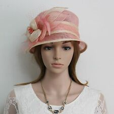 New Woman Church Derby Wedding Party Sinamay Dress Hat 074 PINK/BEIGE