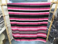 SERAPE XXL,5'X7' , Mexican blanket, HOT ROD,Seat covers, MOTORCYCLE,Black & Pink