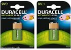 Duracell rechargeable ultra 9V PP3 HR22 170mAh Block Battery - 2 Packs of 1