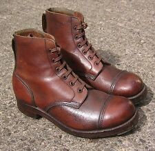 VINTAGE WW2 BRITISH ARMY BROWN LEATHER JUNGLE BOOTS, 7L, ANKLE