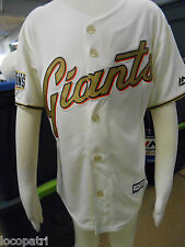 Majestic MLB San Francisco Giants Youth World Series Cream Jersey NWT XL