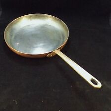 Antique Solid Copper Skillet with Brass Handle and Nickel Plated Lining 10 inch