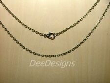 "NECKLACE CHAIN- Antique Bronze Cable Link, 24"", Lobster Clasp, #00143"