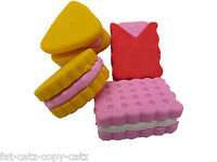 4 x NOVELTY BISCUIT CAKE JAPANESE STYLE RUBBERS ERASERS PARTY BAG GIFT UKSELLER