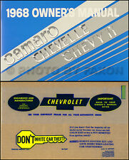 1968 Owners Manual with Envelope SS El Camino Malibu Chevelle Nova Chevy II Book