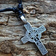 Trinity Triquetra Medieval Cross Pewter Pendant With Cotton Necklace #407