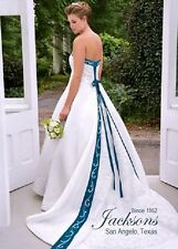ALFRED ANGELO BRIDAL 1612 WOMENS NEW 22W IVORY TEAL SATIN SLIMMING WEDDING DRESS