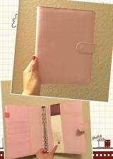 light pink macaron planner organizer binder A5 large desk size PU leather NEW
