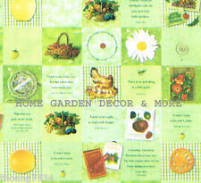 Green Check Square Kitchen Fruit Flower Tea Cup Coffee Pear Vinyl Contact Paper