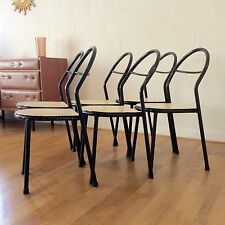 RENE HERBST Ed MOBILOR : Suite 6 Chaises VTG 1950 French Design Modernist Chair