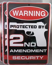 WHOLESALE LOT OF 12 2ND SECOND AMENDMENT SECURITY METAL SIGNS MADE IN USA gun