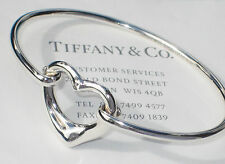 Tiffany & Co Elsa Peretti Sterling Silver Open Heart Diamond Bangle Bracelet