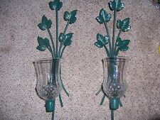 Home Interior Homco green w leaves & votive cup sconce candle holder