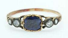 A Stunning 1.5ct Ceylon Sapphire & Rose Cut Diamond Ring Circa 1800's