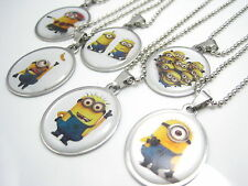 6pcs Despicable Me the Minions stainless steel pendant necklaces with 6 chains