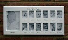 Bebé Mi Primer Año 12 mes 13 Foto Colgante Marco De Fotos Pared Madera Blanco Nuevo