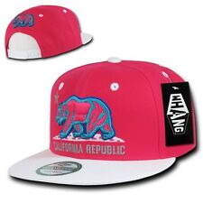 Hot Pink & White California Republic Cali Bear Flat Bill Snapback Snap Back Hat