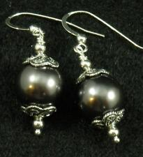 USA made 12mm Tahitian Black Color Shell Pearl .925 Sterling Silver Earrings