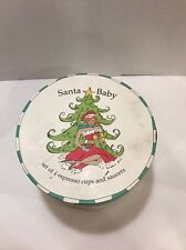 Santa Baby set of 4 espresso cups and saucers by Rosanna in round case Christmas