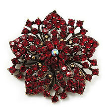 Vintage Antique Gold & Ruby Red Rhinestones Flower Shaped Brooch Pin BR136