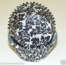 BLACK AND WHITE DAMASK CUPCAKE DESIGNER LINERS 50 COUNT STANDARD SIZE