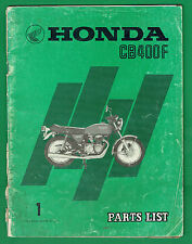 HONDA CB 400 F GENUINE PARTS MANUAL PRINTED OCTOBER 1974