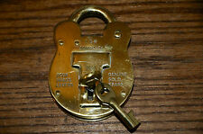 Brass Pad Lock w/ Two Barrel Keys 102 Admiralty Old English Solid Brass 4 Levers