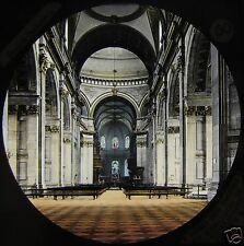 HAND COLOURED Glass Magic Lantern Slide ST PAULS CATHEDRAL NAVE C1890 LONDON