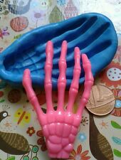 NEW  SKELETON HAND silicone mould claw -   bones skull cake topper fimo