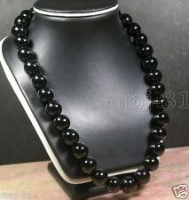 12MM 100% Natural Black Agate Onyx Round Gemstone Beads Necklace 18'' AAA+