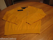 Mens Tommy Hilfiger long sleeve sweater shirt  v neck small S stern yellow 752
