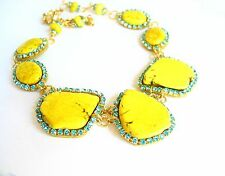 Turquoise Rhinestone statement gemstone slab necklace earrings yellow gold tone