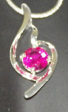 New S80 Sterling Silver Hot Pink Crystal Abstract Pendant Charm With Free Chain
