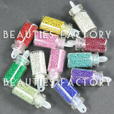 New 12 Bottles Round Shaped Nail Art Mini Beads For Acrylic Nail Art Deco #172
