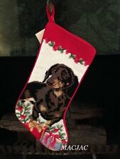 Black Dachshund Dog Needlepoint Christmas Stocking NWT