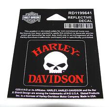 """HARLEY DAVIDSON WILLIE G SKULL 2"""" X 1""""3/4  REFLECTIVE DECAL STICKER"""