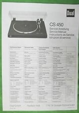 DUAL TURNTABLE CS 450 SERVICE MANUAL ORIGINAL- NOT A COPY FOR DUAL MODEL CS 450
