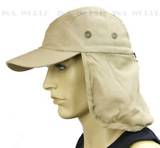 Sun Cap Ear Flap Neck Cover Sun Protection Baseball cap style- Light Beige