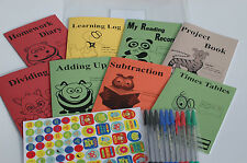 21 Pcs School Support Set - Home Education - 8 Books - Stickers - Folder - Pens