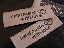 50 Pcs LABEL LABELS SIGN HANDMADE with love 5 cm for Sew in