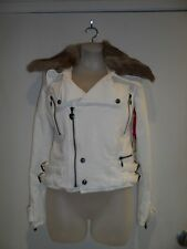Twisted Heart P S NWT White Jacket 100% Rabbit Fur Military Zip Button Up