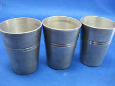 Lot of 3 Antique German Pewter Shooters/Cups/Containers Engraved