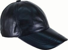Baseball cap Black Nappa Genuine Real leather Universal  'One Size' #7C