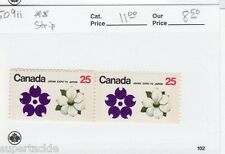 1970 Canada #509ii ** pair MNH VF Japan Expo emblem & flowers 25c