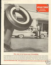 1957 Atlas The Tire Expert's Tire Service Station LARGE Print Ad