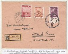 Österreich 1946 Postbetrug Rekobrief 3 verschiedene Stempel + stummer AK