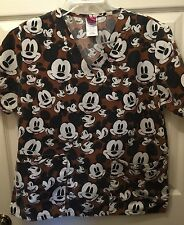 Wonderful World of Disney Scrub Top Small Brown Mickey Mouse Waist Pockets